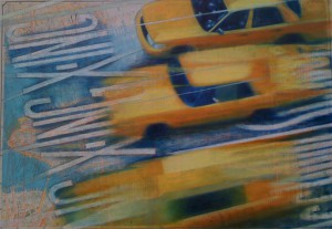 "New York Yellow"" mixed media on canvas 120 x 150 cm (48"" x 60"")"