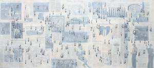 """Shadows on New York Times IV"" mixed media 80 x 180 cm (32"" x 72"")"