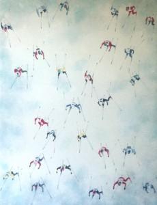 """""""Shadows on Snow - race"""" Miexed media on wood with resin 80 x 60 cm (32"""" x 24"""")"""