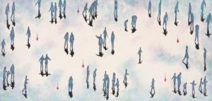 """Shadows Central Park – Upside Down""  2015 Mixed media on canvas - framed 100 x 200 cm (40"" x 80"")"
