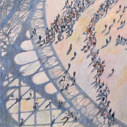 """""""Shadows Paris I"""" oil on canvas 120 x 120 cm (48"""" x 48"""")"""